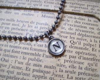 N Initial Pendant Faux Typewriter Key with Ball Chain Necklace