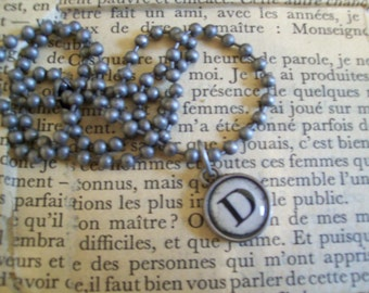 D Initial Pendant Faux Typewriter Key with Ball Chain Necklace
