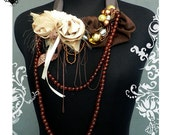 RESERVED Gold and Amber Fall Roses fiber art necklace