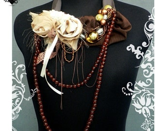SALE 30% OFF - Gold and Amber Fall Roses fiber art necklace