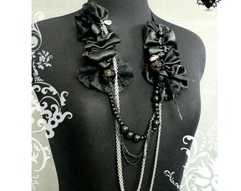 SALE 30% OFF - Gothic Black Satin and Silver Chains Rosary Necklace