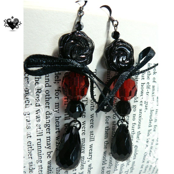 SALE 40% OFF - Ruby Red and Black Gothic Drop Earrings