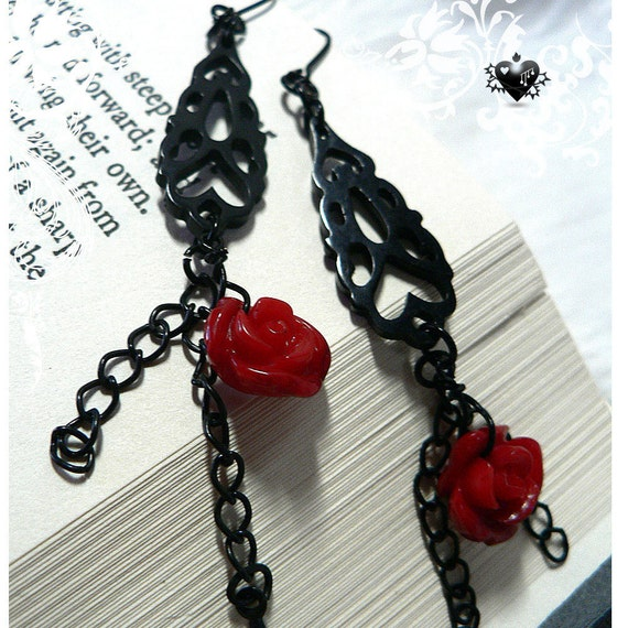 SALE 30% OFF - Elegant Black Gothic Filigree and Red Rose Drop Earrings