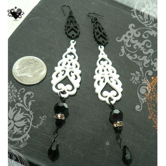 SALE 30% OFF - Gothic Black and  White Gothic Dangle Earrings