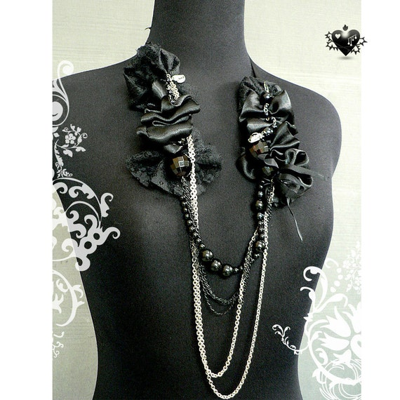 SALE 80% OFF - Gothic Black Satin and Silver Chains Rosary Necklace