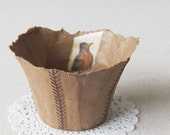 Handmade Paper Bowl with Robin- papier mache handmade bowl for organization and home decor