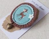 Deer Brooch with Locket- You Are Deer- Felt Pin