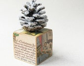 Rustic Christmas Tree- Primitive Glittered Pine Cone on a Wooden Block