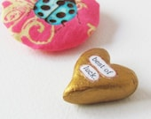 Wee Sentiment with Lucky Ladybug Pouch. Best of Luck. A Handmade Keepsake Miniature Heart Memento by humbleBea.