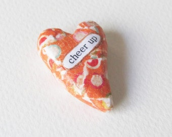 Keepsake Heart Memento. Cheer Up. A Wee Sentiment Miniature by humbleBea.