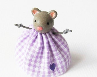 Tiny Mouse In A Dress- Miniature Clay Art Sculpture by humbleBea