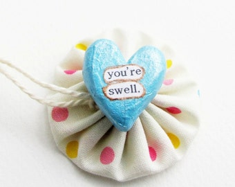 Clay Heart Token - Wee Sentiment with Fabric Gift Pouch - Friendship, Love, Compliment, Congratulations