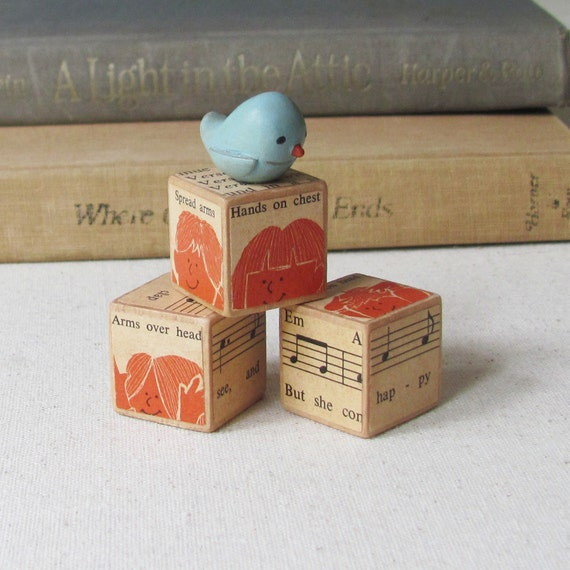 Miniature Bird Polymer Clay Art Sculpture with Rustic Wooden Blocks