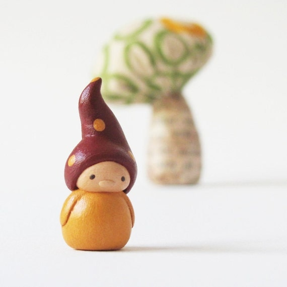 Gnome and Mushroom Miniatures- woodland clay art sculptures for home decor by humbleBea