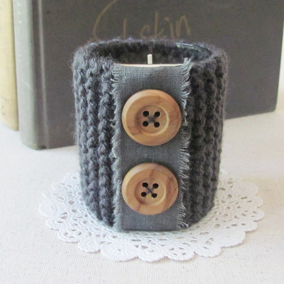 Knitting Wool Holder Hobbycraft : Knit candle holder handmade with linen trim and wooden