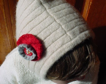 Cute as a Vintage Button Felted Wool Child's Hood