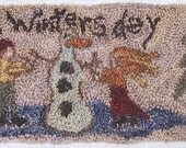 Primitive Punch Needle Pattern A WINTERS DAY 1810