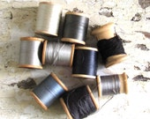 Vintage Thread Wood Spools Stormy Grey Skies Silver Lining in the Clouds
