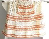 Vintage Crochet Half Apron Natural and Coral Peach