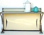 Antique Art Deco Enameled Stove Backsplash with Shelf