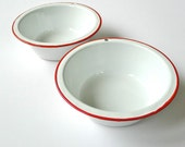 Pair of White Enamelware Bowls