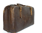 1930s Antique Cowhide Leather Suitcase