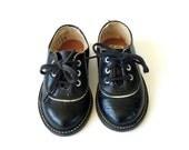 Vintage Children's Black Leather Oxfords
