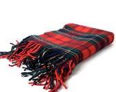 Vintage Pendleton Red Plaid Wool Throw Blanket