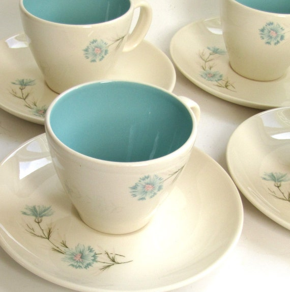 Robin Egg Blue Boutonniere Taylor Smith and Taylor Vintage Set of Eight Coffee or Tea Cups