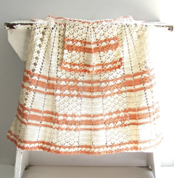 Vintage Crochet Half Apron Natural and Coral Peach