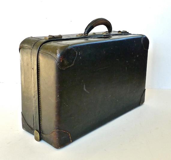 Vintage 1940s Black Cowhide Leather Suitcase