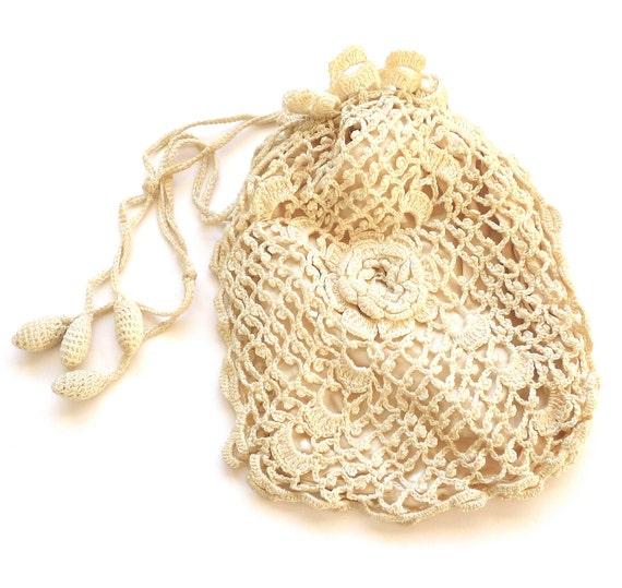 Antique Edwardian Crochet Drawstring Pouch Handbag Valentines Gift For Her