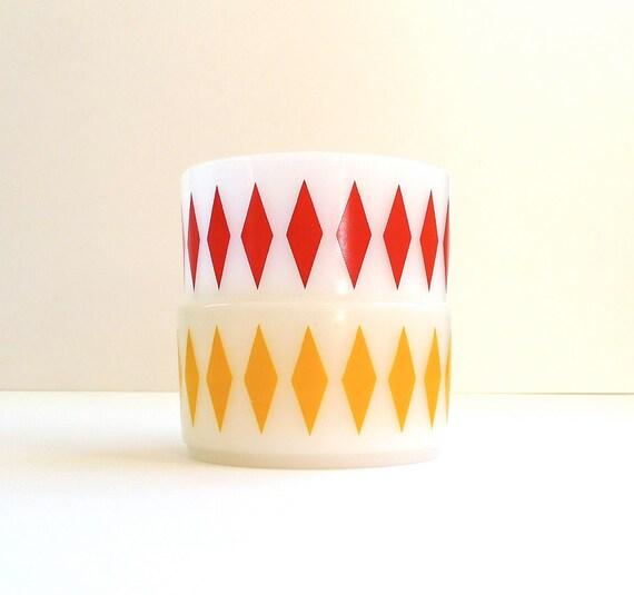 Pair of Fire King Diamond Pattern Bowls