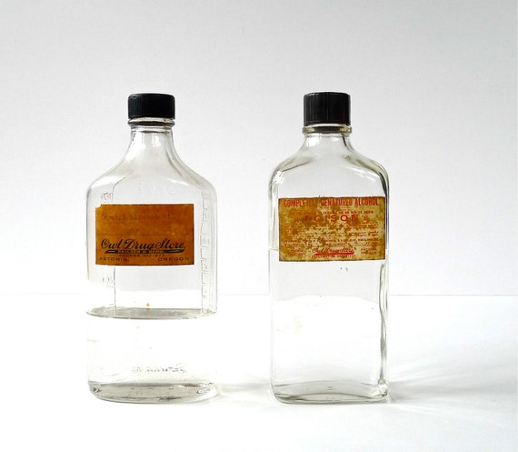Owl Drug Store Bottles with Labels and Caps