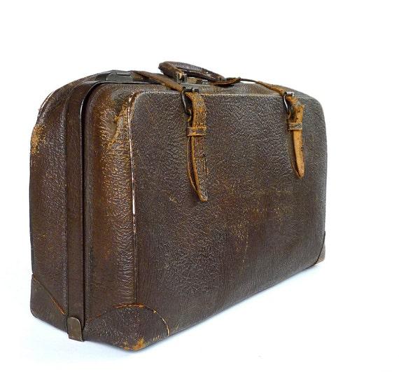 1930s Antique Cowhide Leather Suitcase