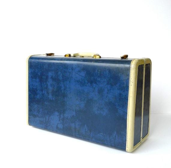 Navy Blue Marbled Samsonite Suitcase