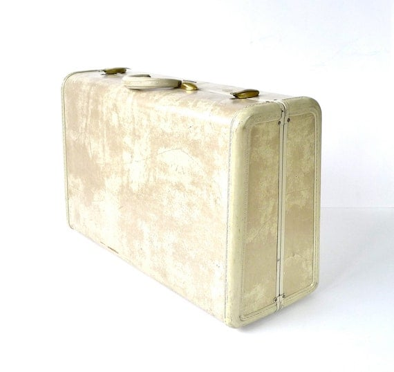 Ivory Tan 1950s Samsonite Streamlite Suitcase