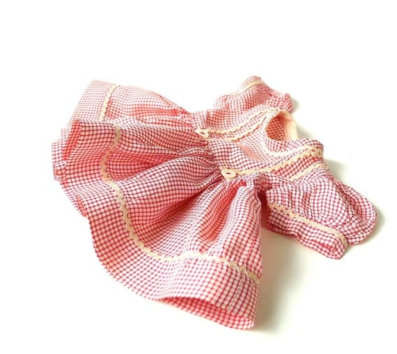 Red and White Check Print Doll Dress