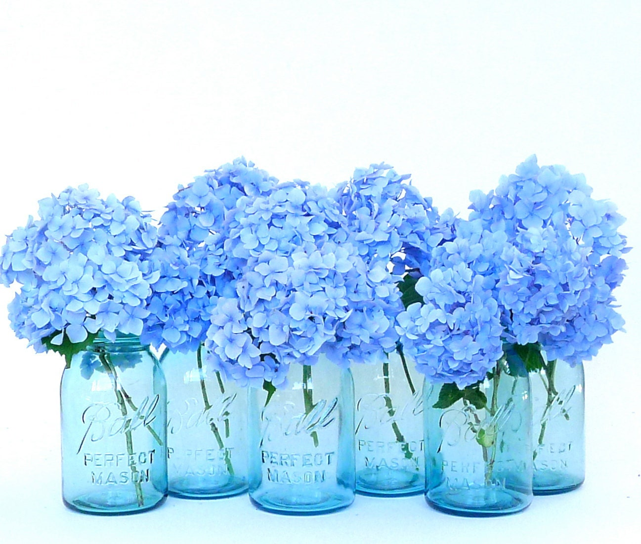 Hydrangea Ball Centerpieces : Antique aqua ball perfect mason jars with canner rack summer