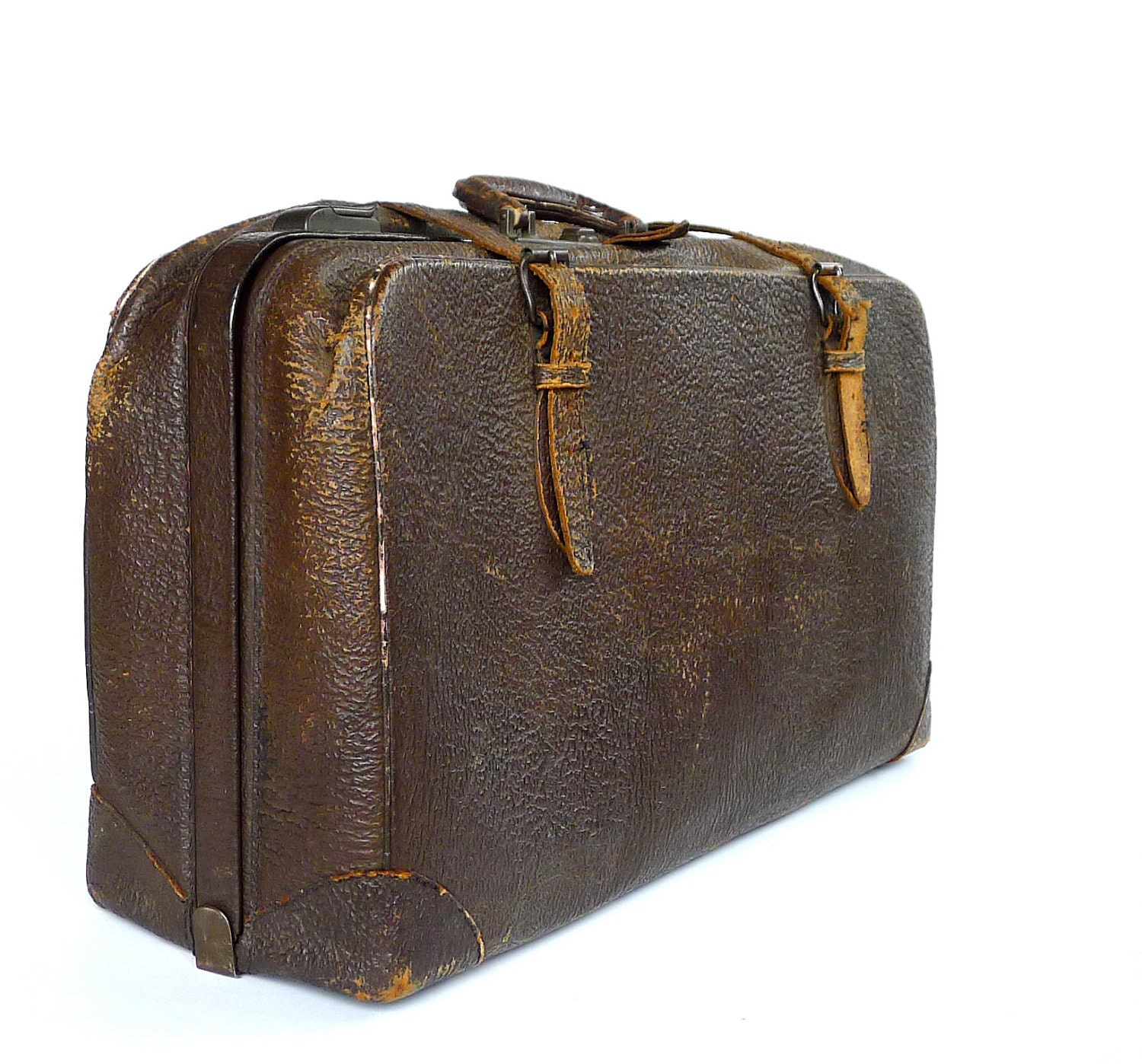 1930s antique cowhide leather suitcase - Vintage suitcase ...