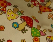 1 Yard Retro Japanese Mushrooms Canvas Fabric Reserved for littlemargie
