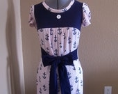SALE nautical pink\/white anchor babydoll dress\/top