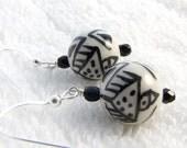 Black and White Ceramic Earrings