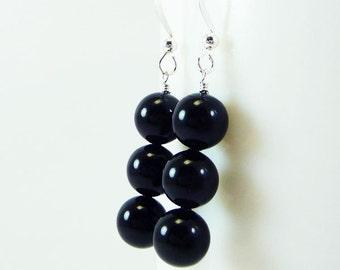 Mystic Black pearl earrings ARISTOCRAT Wedding Bridesmaid Swarovski Pearls on Sterling Silver