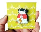 Miss Knit Wooden Brooch