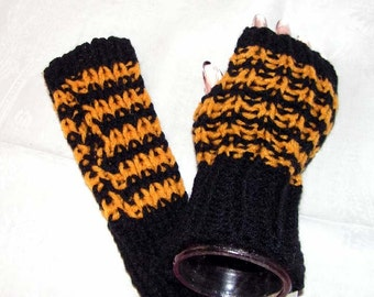 fm036 Hand Knit Black and Gold  Fingerless Mittens / texting gloves / wristwarmers