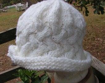 Hat079 Hand Knit White Charisma Paddington Hat.