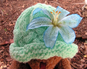 hat053 Vintage Style Cabled Mint Green Paddington Hat Toddler