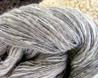 y235 Hand Spun Clouds Gray White Llama Lace Weight Yarn  340 Y Free Shipping