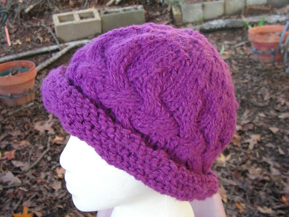 hat048 Hand Knit Cabled Vintage Style Mauve Paddington Hat Woman Teen